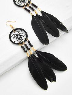 Dreamcatcher Design Feather Drop Earrings -SheIn(Sheinside)