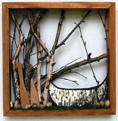 Framed Canoe Woodland Scene  Birch Bark Canoe by MadeAtTheLake, $60.00