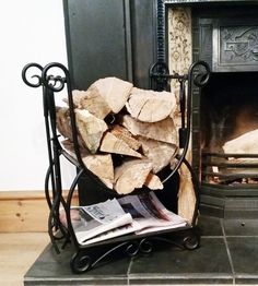 BLACK WROUGHT IRON INDOOR LOG RACK STORAGE CARRIER FIRE WOOD CANBLK in Home, Furniture & DIY, Fireplaces & Accessories, Log Baskets & Holders | eBay
