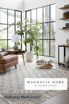 Magnolia Home by Joanna Gaines, Holloway in Black/Ivory collection! Available at nwrugs.com #interiordesign #loveofrugs #magnoliahome #gaines #rugs Rugs In Living Room, Home And Living, Living Room Furniture, Living Room Designs, Living Spaces, Living Room Plants Decor, Living Room Windows, Small Living, Cozy Living