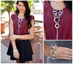 We love pairing silver accessories behind rich colored backdrops. The maroon color the model is wearing highlights the spiraled texture in both the necklace and the bracelet for an undeniably sophisticated look with just a hint of whimsical charm! Buy the complete look now from www.paparazziaccessories.com/vegasbling for only $10!