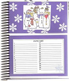 January Page of Card Organizer by DRStamper - Cards and Paper Crafts at Splitcoaststampers Card Organizer, Organizers, Perpetual Calendar, Birthday Cards, January, Paper Crafts, Organization, Bday Cards, Getting Organized