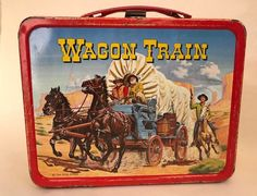 Vintage Wagon Train Lunch Box no thermos 1964 Revue Studios Western Cowboy Tin lunch box Retro Lunch Boxes, Tin Lunch Boxes, Lunch Containers, Metal Lunch Box, Star Wars Lunch Box, School Lunch Box, Whats For Lunch, Tv Westerns, Vintage School