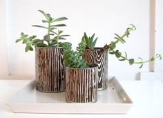 UP-CYCLE tin cans-set up an indoor garden. Collect some empty cans and give them the Apartment Therapy treatment. A little wrapping paper transforms these ordinary vessels into perfectly presentable planters.