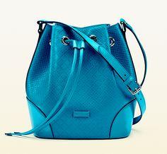 Bucket Bag Bonanza: Gucci's teal diamante leather bucket bag
