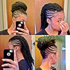 Two strand twist Mohawk. Updo, protective styling, natural hair
