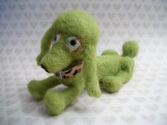 Green Dog Mini Poodle Handmade Dog by FeltWithAHeart on Etsy