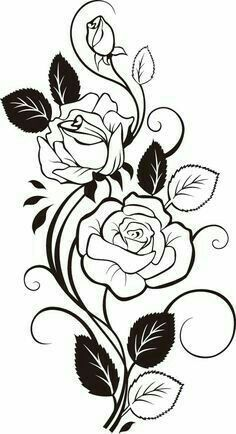 Image Result For Rose And Swirl Tattoos Flower Drawing Coloring Pages Drawings