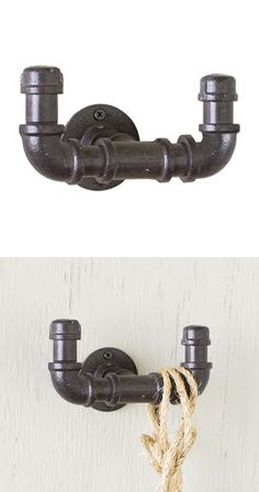 Crafty and utilitarian, this handsome wall hook is quite the handy accessory. With a charming design inspired by industrial piping, the Plumber Double Wall Hook will add character and convenience to a ...  Find the Plumber Double Wall Hook, as seen in the Vintage Industrial Bath Collection at http://dotandbo.com/collections/vintage-industrial-bath?utm_source=pinterest&utm_medium=organic&db_sku=115035