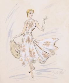 Costume design sketch by Edith Head for Grace Kelly in 'Rear Window', 1954 - Favorite Fashion Sketches, Drawings, and Inspiration Fashion History, Fashion Art, Retro Fashion, Fashion Design, Style Fashion, Kelly Fashion, Dress Fashion, Trendy Fashion, Costume Hollywood
