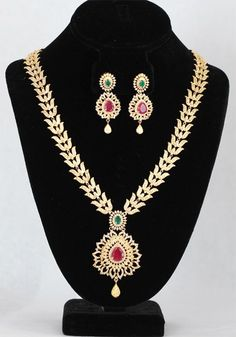 Indian AD Bridal long Ruby & Emerald Jewelry set