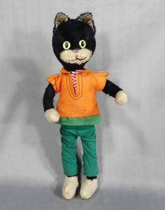ANTIQUE GERMAN TOY PIN MOHAIR BLACK TOM CAT CHARACTER DOLL LONG LEGS GLASS EYES