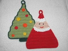 Crochet Patterns Dishcloth Potholders 'Weihnacht' from Funny and outrageouspotholders on DaWand … Crochet Winter, Holiday Crochet, Christmas Knitting, Crochet Potholder Patterns, Crochet Doll Pattern, Crochet Hot Pads, Crochet Sheep, Knit Dishcloth, Single Crochet Stitch