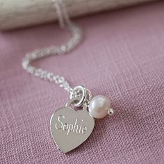 Personalised Tiny Silver Heart Charm Necklace