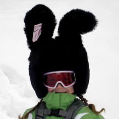 Look fab on the slopes with this bunny ski helmet cover http://www.skiweb.uk.com/black-rabbit-ski-helmet-cover