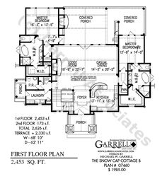 Snow Cap Cottage B House Plan 07460, 1st Floor Plan, Master Down House Plans, One Story House Plans