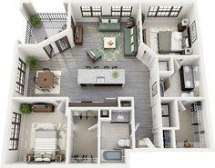 3 Dormitorio Planos de los Apartamentos 3d