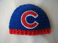 d0826c7f3 Crocheted Cubs Inspired Baby Beanie Hat - MADE TO ORDER - Handmade by Me