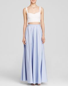 Jill Stuart's Sleeveless Bustier Crop Top & Faille Ball Skirt is our choice for a summertime date night at the Venice Canals #100percentbloomies @bloomingdales
