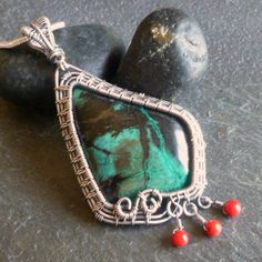 Chrysocolla in sterling silver with red coral. By Julie Lockhart of Copar Aingeal