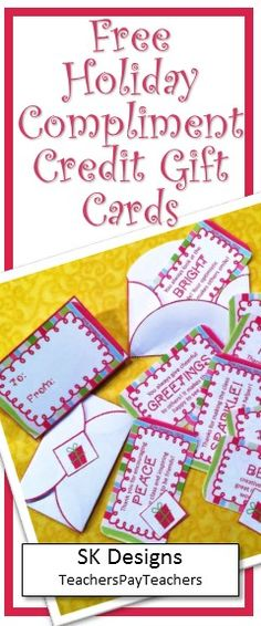 Free gift card-sized compliment cards for students to build confidence, show appreciation and bring smiles! At SK Designs on Teachers Pay Teachers Fourth Grade, Second Grade, Classroom Resources, Teaching Resources, Comprehension Activities, Thing 1, Free Products, Free Gift Cards, Christmas Activities