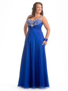 A-line One Shoulder Sleeveless Floor-length Chiffon Plus Size Prom Dress #VJ636