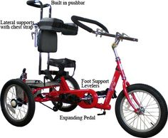 I really want one for Michael! The AmTryke ProSeries 1416 Tricycle is a more traditional style tricycle for children with special needs up to about 12 years old. Supports up to 175 lbs. Down Syndrome, Rett Syndrome, Mobility Aids, Rhyme And Reason, Cerebral Palsy, Special Needs, Tricycle, Baby Dolls, Bike