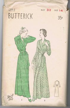 d049dca18f 1950 s Dressing gown or Robe Butterick 4653 by VintageSewingSuite