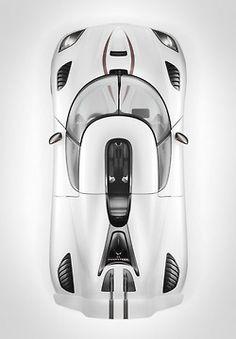 ♂ white car bird's view Koenigsegg Agera R