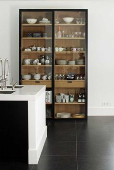 New kitchen furniture cabinets open shelves Ideas Glass Kitchen Cabinet Doors, Glass Front Cabinets, Farmhouse Kitchen Cabinets, Glass Doors, Crockery Cabinet, Upper Cabinets, Small Cabinet, Kitchen Display Cabinet, Kitchen Armoire
