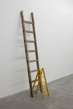Roman Ondák-Third Way, 2013 found ladder and scaled-down model of a ladder 211 x 47 x 75 cm