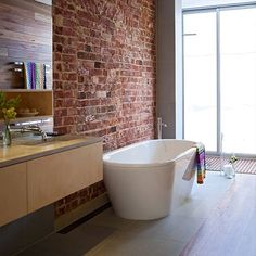 Bathroom lusting, exposed brick is such a love of mine Brick Bathroom, Boho Bathroom, Diy Bathroom Decor, Laundry In Bathroom, Bathroom Furniture, Bathroom Ideas, Furniture Sets, Design Your Home, Home Interior Design