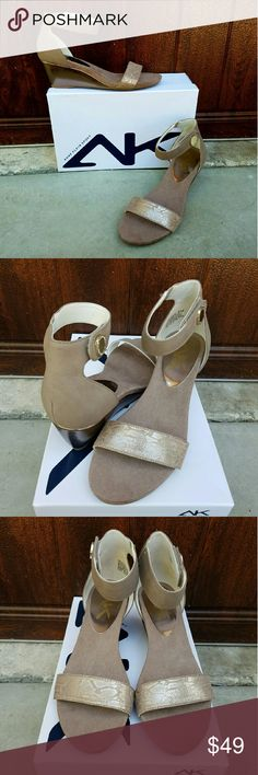 """Anne Klein Sport Sandals This AK taupe & bronze wedge has a simple profile, complementing the toes with a single strap. Leather upper features metallic accents. The heel measures 2.5"""" & the platform measures .5"""". These are new with box. Anne Klein Shoes Wedges"""