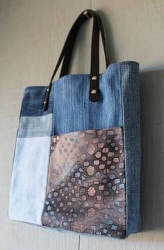 Denim Front Pocket Patch Tote with Leather Straps, Two Interior Pockets and Lined with a Tie Dyed Themed Cotton Fabric by AllintheJeans on Etsy