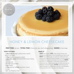 Honey & Lemon Cheesecake #dessert #recipe