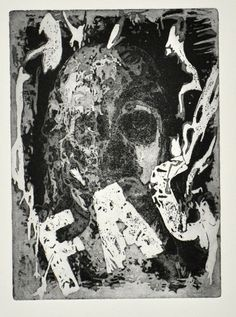 Self portrait. Burning in Hell IV. Aquatint. Kevin A. Pickering
