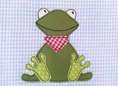 Stickmuster - Stickdatei Fridolin Frosch 13x18 Doodle Frösche - ein Designerstück von Stickherz bei DaWanda