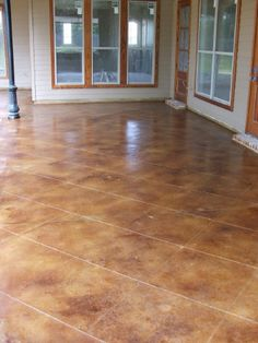 patio stained concrete overlay with flagstone finish stained