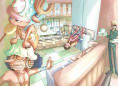 One Piece ~ Tony Tony Chopper, Usopp, Monkey D. Luffy, and Sanji -- In the Kitchen