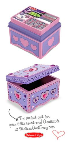 Decorate-Your-Own Box: Kids can add their creative touch to this decorate-your-own jewelry box. The wooden chest has a velvet lined base and a safety mirror inside the lid. The all-inclusive arts-and-crafts kit includes craft glue, glitter glue, sparkling gems, and glitter stickers. *A perfect Valentine's Day gift!