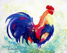 Rooster Art Chicken_Original Acrylic by TetianaArt on Etsy