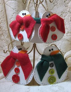 Christmas Holiday Wooden Snowmen Ornaments or Tags by Freddismom, $4.95