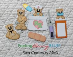 TOCG Feeling Beary Blue premade paper piecing scrapbook page album border  ~ Paper Creations by Mindy