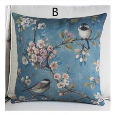 American country flower throw pillow for couch linen bird sofa cushions 18in