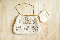 Vintage c. 1930's  French Beaded Clutch  | White and Pastel Floral Handbag by…