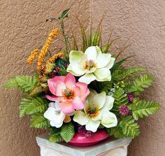 Shabby Couture Silk Flower Arrangement, Magnolias, Green Forest Fern Bush. $49.95, via Etsy.