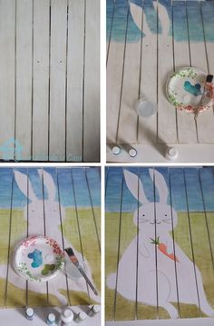 Paint original Easter bunny art on reclaimed wood, then hang it over your mantel.