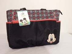 Brand New MICKEY MOUSE 5 Piece Set Diaper Bag Red, Black and Grey NWT  #DisneyBaby