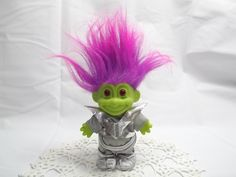 Greetings Earthlings! Vintage Green Martian Russ Berrie and Company Inc. Troll Doll,  Novelty Toy Made in China, Collectible Troll - pinned by pin4etsy.com