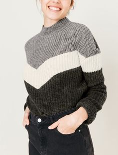 Pull colorblock grosse maille